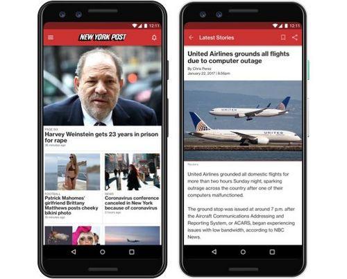 Symulowany obraz aplikacji ns-post.com na telefonie z systemem Android