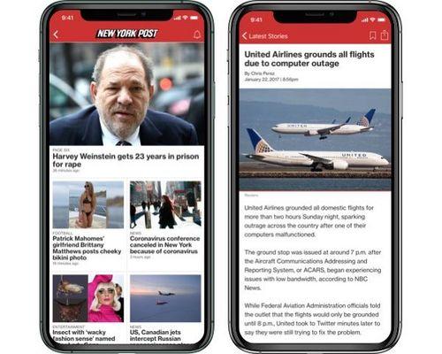 Symulowany obraz aplikacji ns-post.com na iPhonie
