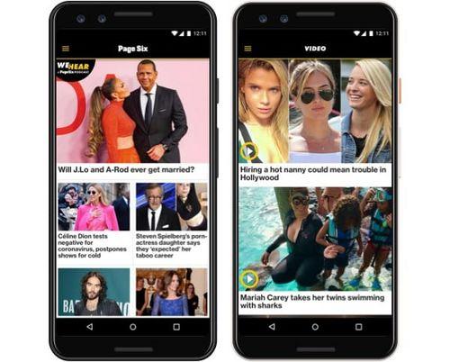 Symulowany obraz aplikacji Page Six na telefonie z systemem Android