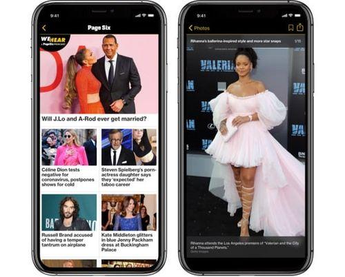 Symulowany obraz aplikacji Page Six na iPhonie